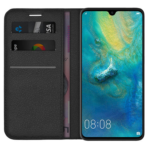 Leather Wallet Case & Card Holder Pouch for Huawei Mate 20 - Black